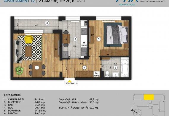 Apartament 2 Camere - 2C Tip 2F