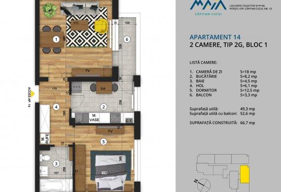 Apartament 2 Camere - 2C Tip 2G