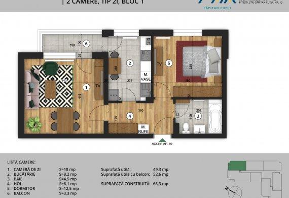 Apartament 2 Camere - 2C Tip 2I