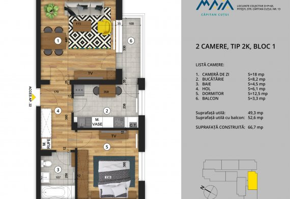 Apartament 2 Camere - 2C Tip 2K