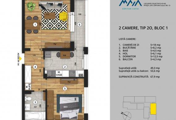 Apartament 2 Camere - 2C Tip 2O