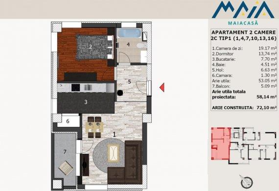 Apartament 2 Camere - 2C TIP1