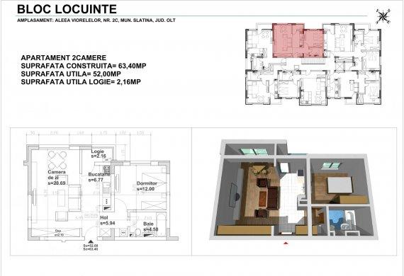 Apartament 2 Camere - 2CTIP1