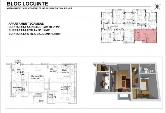 Apartament 2 Camere - 2CTIP3
