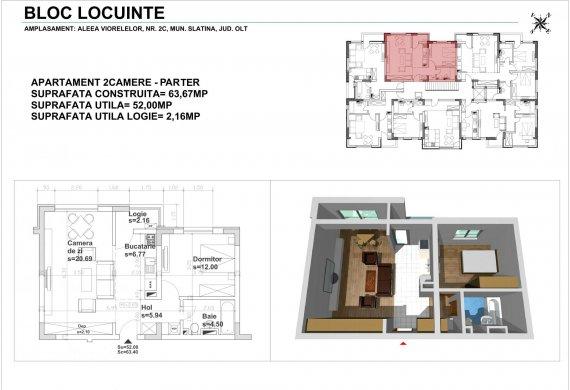 Apartament 2 Camere - 2CTIP1B
