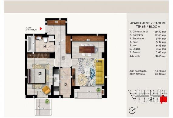 Apartament 2 Camere - 2C TIP 6B