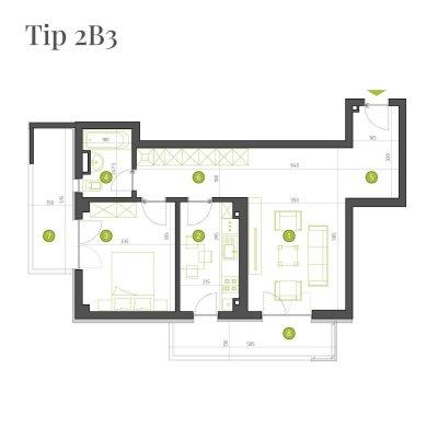 Apartament 2 Camere - 2B3