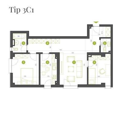 Apartament 3 Camere - 3C1