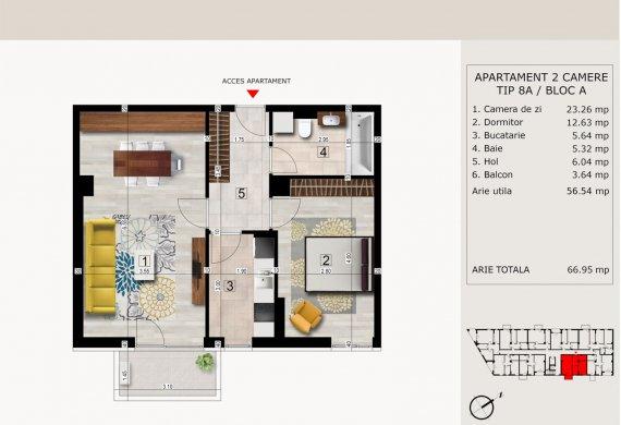 Apartament 2 Camere - 2C TIP 8A