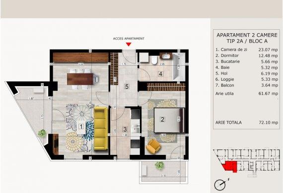 Apartament 2 Camere - 2C TIP 2A