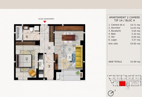 Apartament 2 Camere - 2C TIP 1A
