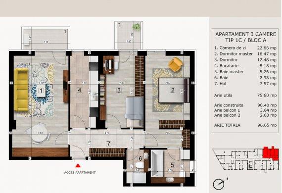 Apartament 3 Camere - 3C TIP 1C