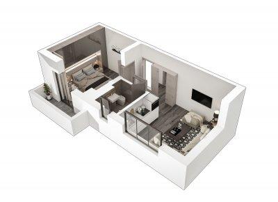 Apartament 2 Camere - S4 Scara 1