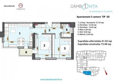 Apartament 3 Camere - 3D Scara 1